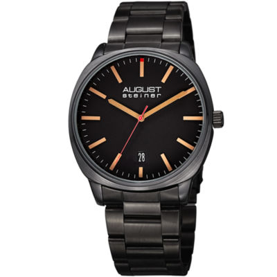 August Steiner Mens Black Strap Watch-As-8237bk