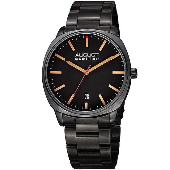 August Steiner Mens Black Stainless Steel Strap Watch-As-8237bk