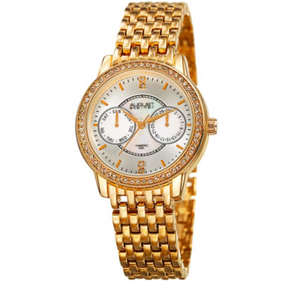August Steiner Womens Gold Tone Strap Watch-As-8228yg