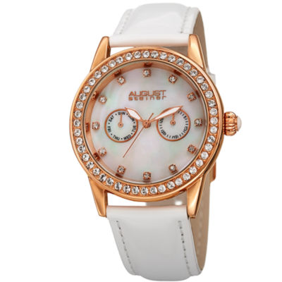 August Steiner Womens White Strap Watch-As-8234wt