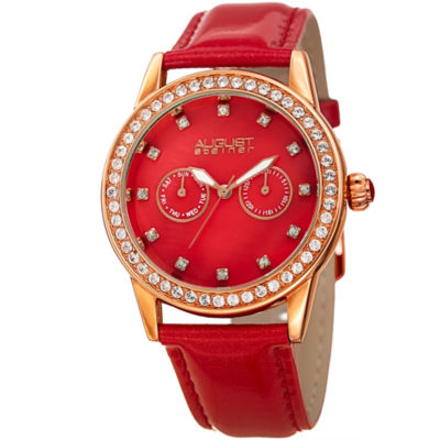 August Steiner Womens Red Strap Watch-As-8234rd