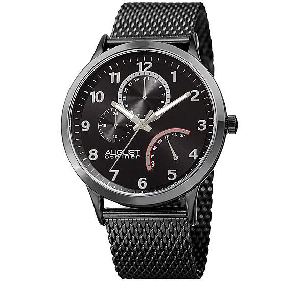 August Steiner Mens Black Strap Watch As 8230bk
