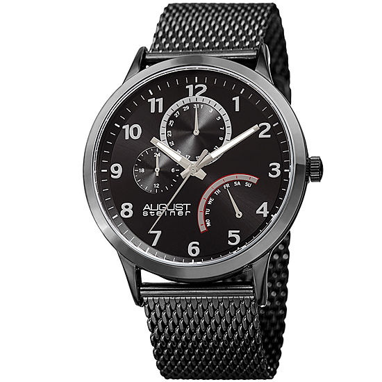 August Steiner Mens Black Stainless Steel Strap Watch-As-8230bk