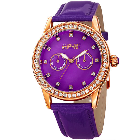 August Steiner Set With Swarovski Crystals Womens Purple Leather Strap Watch-As-8234pu