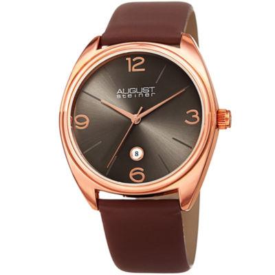 August Steiner Mens Brown Strap Watch-As-8231rgbr