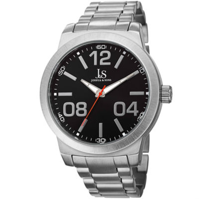 Joshua & Sons Mens Silver Tone Strap Watch-J-82ssb