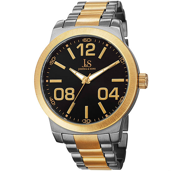 Joshua & Sons Mens Two Tone Strap Watch-J-82ttg