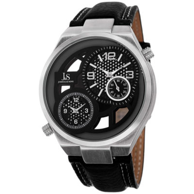 Joshua & Sons Mens Black Strap Watch-J-83ss