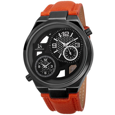 Joshua & Sons Mens Orange Strap Watch-J-83tn