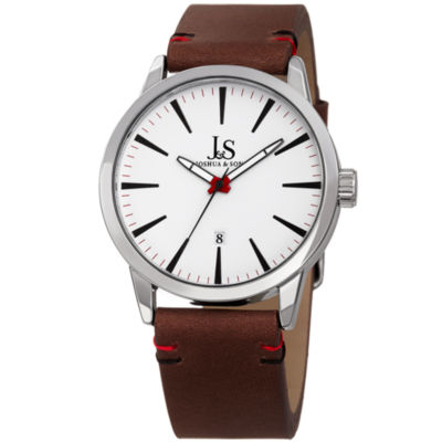 Joshua & Sons Mens Brown Strap Watch-J-86ssbr