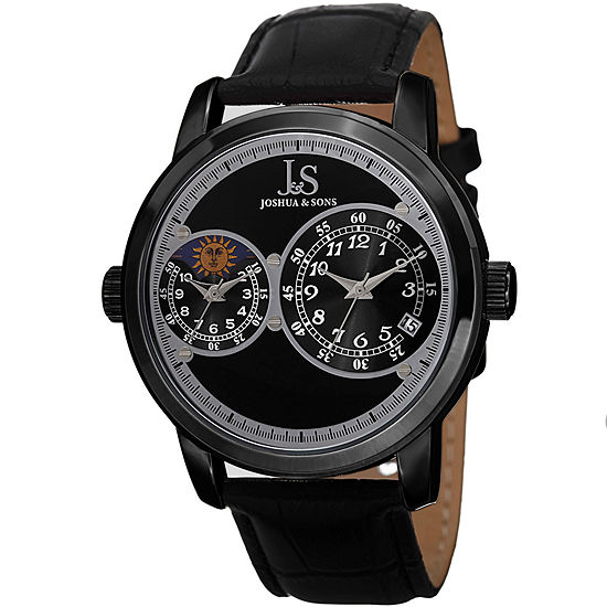 Joshua & Sons Mens Black Leather Strap Watch-J-87bk