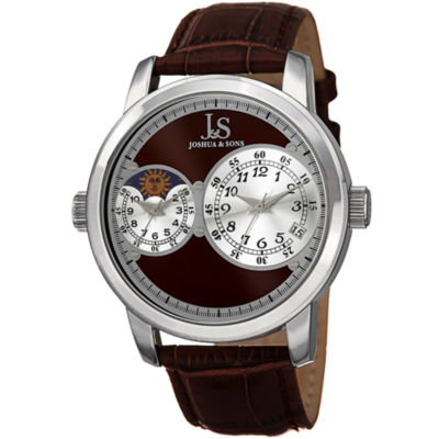 Joshua & Sons Mens Brown Strap Watch-J-87br