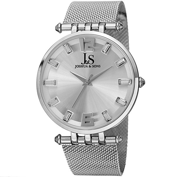 Joshua & Sons Mens Silver Tone Strap Watch-J-90ss