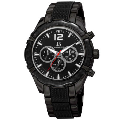 Joshua & Sons Mens Black Strap Watch-J-98bk