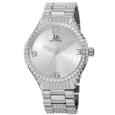 Joshua & Sons Mens Silver Tone Strap Watch-J-99ss