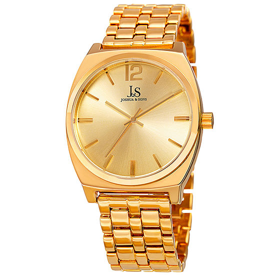 Joshua Sons Mens Gold Tone Bracelet Watch J 102yg