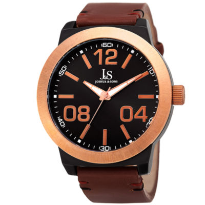 Joshua & Sons Mens Brown Strap Watch-J-103rgbr