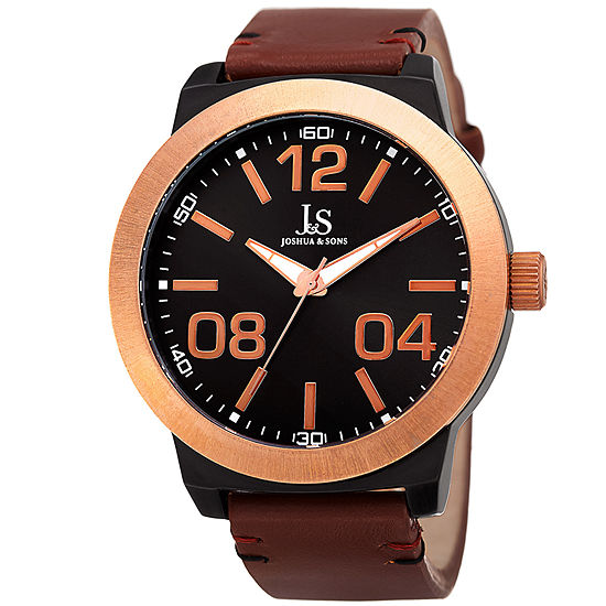 Joshua & Sons Mens Brown Leather Strap Watch-J-103rgbr