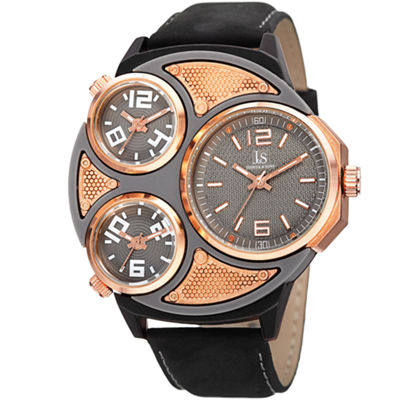 Joshua & Sons Mens Black Strap Watch-J-105rgbk