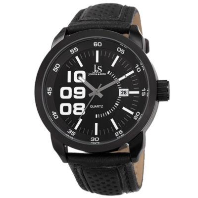 Joshua & Sons Mens Black Strap Watch-J-106bk