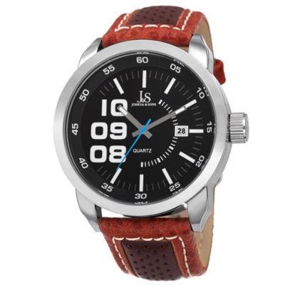 Joshua & Sons Mens Brown Strap Watch-J-106br