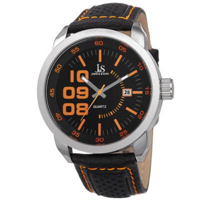 Joshua & Sons Mens Black Strap Watch-J-106or