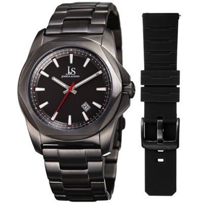 Joshua & Sons Mens Black Strap Watch-J-108bk-Bx