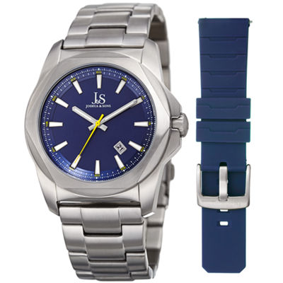 Joshua & Sons Mens Silver Tone Strap Watch-J-108bu-Bx