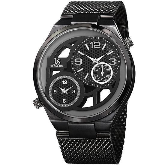 Joshua & Sons Mens Black Stainless Steel Strap Watch-J-111bk