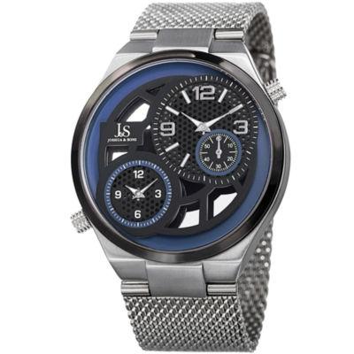 Joshua & Sons Mens Silver Tone Strap Watch-J-111ssbu
