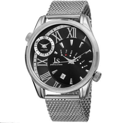 Joshua & Sons Mens Silver Tone Strap Watch-J-112ssb