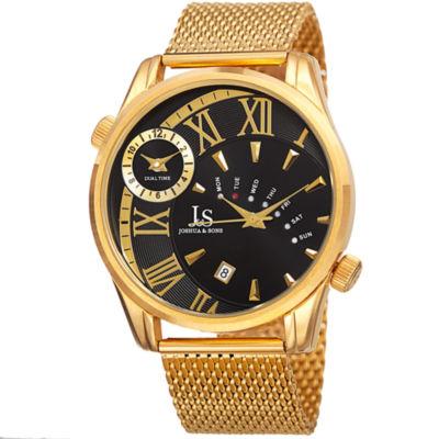 Joshua & Sons Mens Gold Tone Strap Watch-J-112ygb