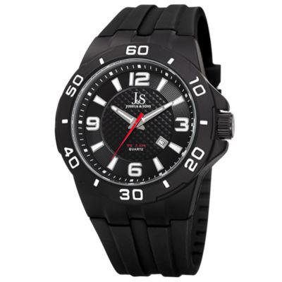 Joshua & Sons Mens Black Strap Watch-J-115bk