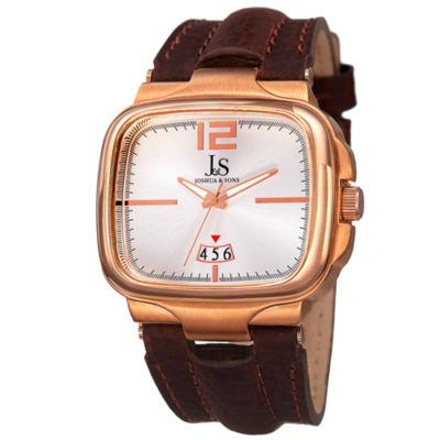 Joshua & Sons Mens Brown Strap Watch-J-117rg