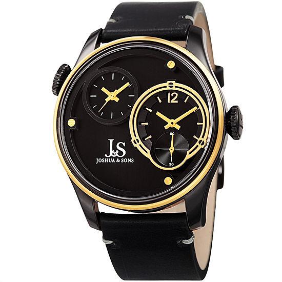Joshua & Sons Mens Black Leather Strap Watch-J-118bkyg