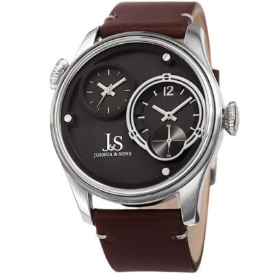 Joshua & Sons Mens Brown Strap Watch-J-118ss