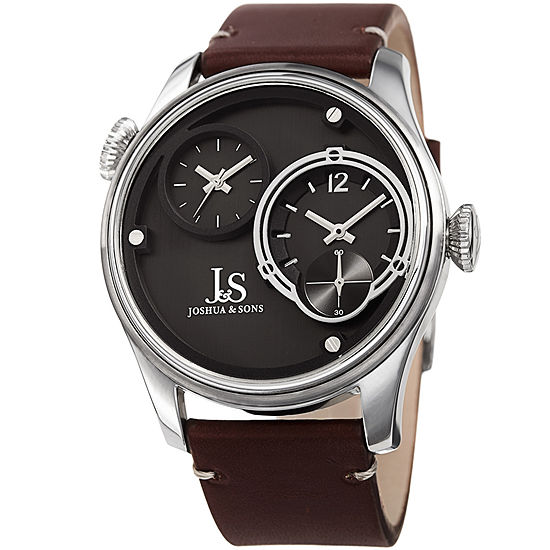 Joshua & Sons Mens Brown Leather Strap Watch-J-118ss