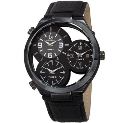 Joshua & Sons Mens Black Strap Watch-J-119bk