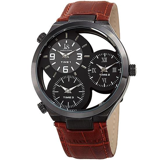 Joshua & Sons Mens Brown Leather Strap Watch-J-119tn