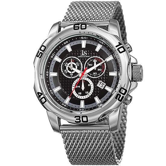 Joshua & Sons Mens Silver Tone Stainless Steel Strap Watch-J-123ssbk