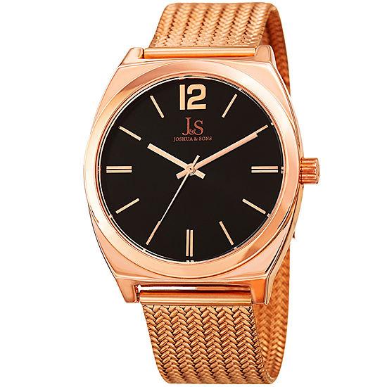 Joshua & Sons Mens Rose Goldtone Strap Watch-J-124rg
