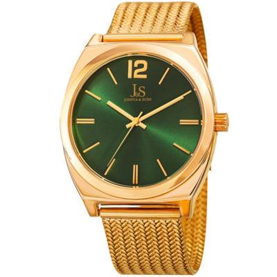 Joshua & Sons Mens Gold Tone Strap Watch-J-124yggn