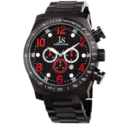 Joshua & Sons Mens Black Strap Watch-J-127rd