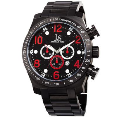 Joshua & Sons Mens Black Strap Watch-J-127rd