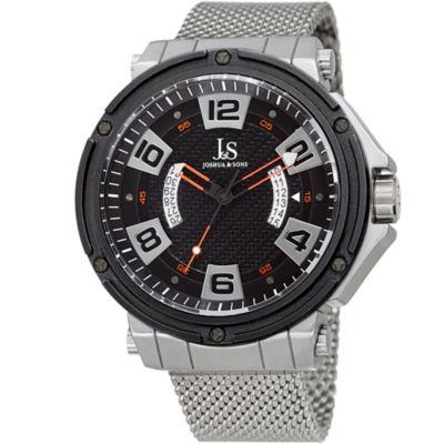 Joshua & Sons Mens Silver Tone Strap Watch-J-132rd
