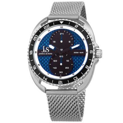 Joshua & Sons Mens Silver Tone Strap Watch-J-136ssbu