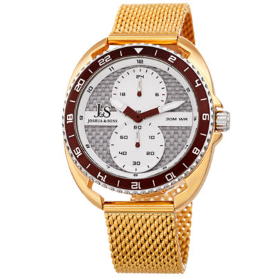 Joshua & Sons Mens Gold Tone Strap Watch-J-136yg