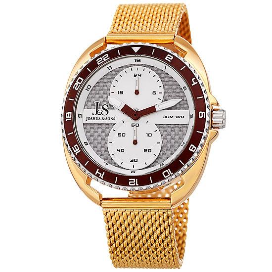 Joshua & Sons Mens Gold Tone Strap Watch-J-136yg