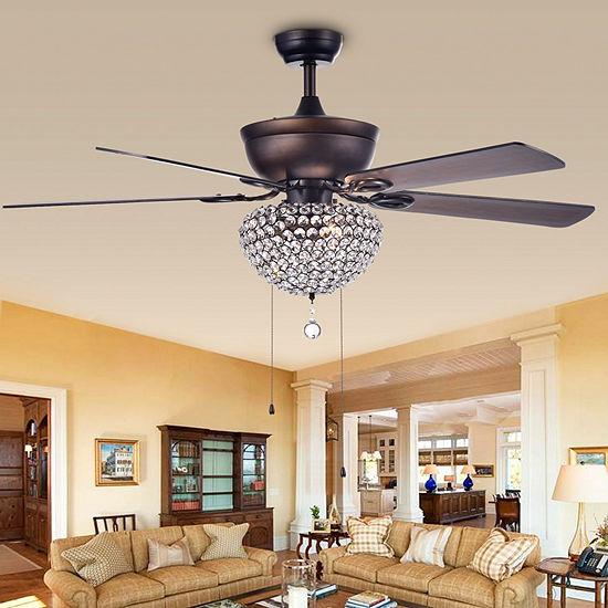 Swarna Antique Bronze 3-light Metal/ Crystal 5-blade 52-inch Ceiling Fan