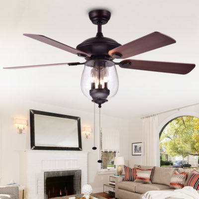 Tibwald Wood Glass 52-inch 5-blade Lighted Ceiling Fan